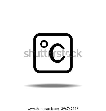 Thin Line Single Icon - Temperature Icon Celsius - stock vector