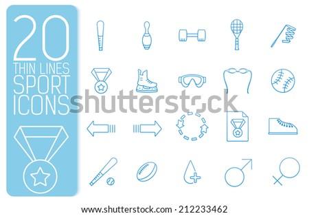 thin line sport set icons concept. Vector illustration design - stock vector