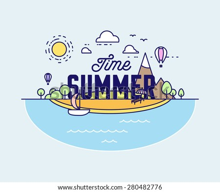 Thin Line Style Vector Summer Illustration with Ocean, Island, Sun, Clouds, Palms and Beach. Minimalistic Design. - stock vector