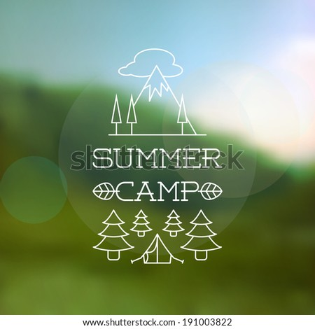 Thin Line Summer Holiday and Travel themed Summer Camp Outlined Background Illustration - stock vector