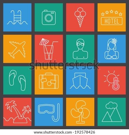 Thin line summer, tourism and travel vector icons. Trendy collection in UI color. - stock vector
