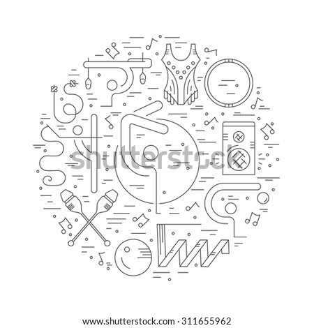 Thin line vector concept with rhythmic gymnastics equipment and elements. Perfect illustration for banner or flyer. Sport and fitness vector.  - stock vector