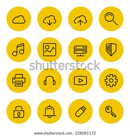 Thin line vector icons set for web site and mobile apps design black and yellow colors flat style. Objects and symbols: cloud computing, download, upload, share, file, video, options, music, gallery - stock vector