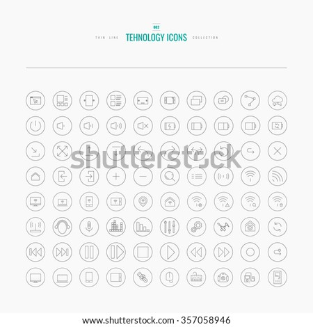 Thin line web icons collection for online communication, digital devices, media and internet. Icons for web and app design. - stock vector