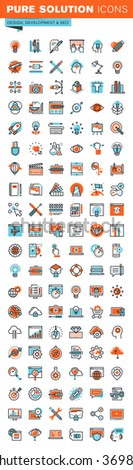 Thin line web icons for graphic design, website and app design and development, seo, art and creative process, for websites and mobile websites and apps. - stock vector