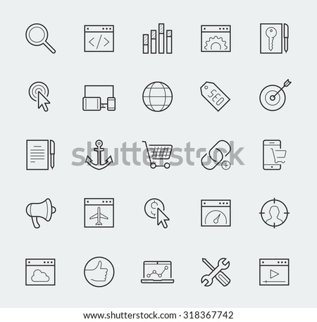 Thin line web icons set - Search Engine Optimization or SEO - stock vector