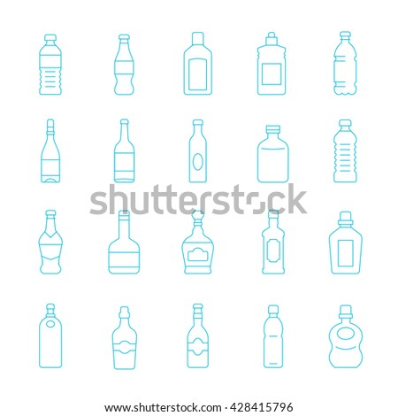 Thin lines icon set - bottle and beverage - stock vector