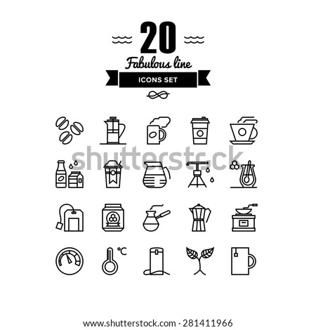 Thin lines icons set of coffee preparation process, cup of tea, hot americano to go, glass of water, hot drinks with honey. Modern infographic outline vector design, simple logo pictogram concept. - stock vector