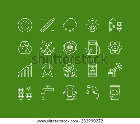 Thin lines icons set of ecology nature and environment conservation, green energy efficiency, electricity power consumption. Modern infographic outline vector design, simple logo pictogram concept. - stock vector