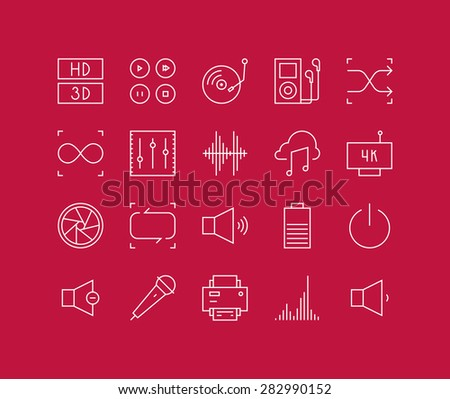 Thin lines icons set of multimedia interface elements, power button, audio and video menu info graphic, media speaker settings. Modern infographic outline vector design, simple logo pictogram concept. - stock vector
