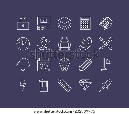 Thin lines icons set of necessary business equipment, office essential tools, desk accessories and supply, workflow utensils. Modern infographic outline vector design, simple logo pictogram concept. - stock vector
