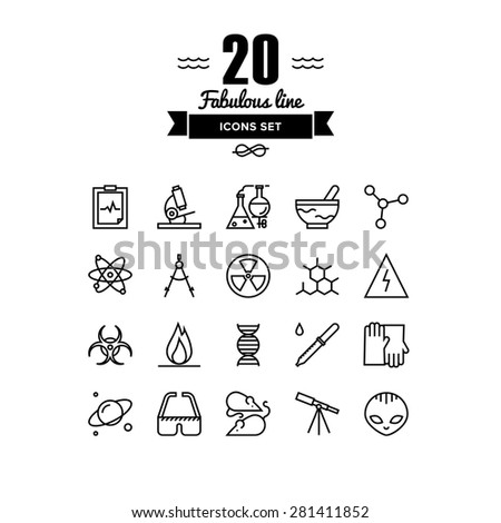 Thin lines icons set of scientific experiments, bio technology genome testing, alien life form hazardous materials research. Modern infographic outline vector design, simple logo pictogram concept. - stock vector