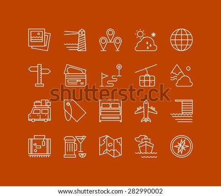 Thin lines icons set of vacation planning, tourism and travel object, map navigation element, holiday trip, various transport. Modern infographic outline vector design, simple logo pictogram concept. - stock vector