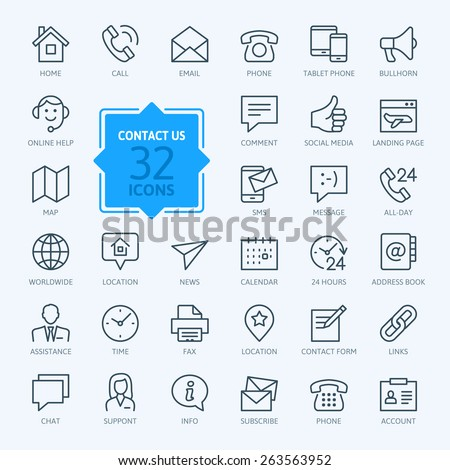 Thin lines web icons set - Contact us  - stock vector