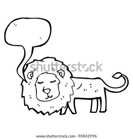 thin lion with speech bubble