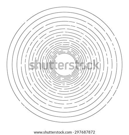 Thin random dashed concentric circles background - stock vector