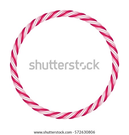 Candy Cane Christmas Frame Isolated On Stock Photo