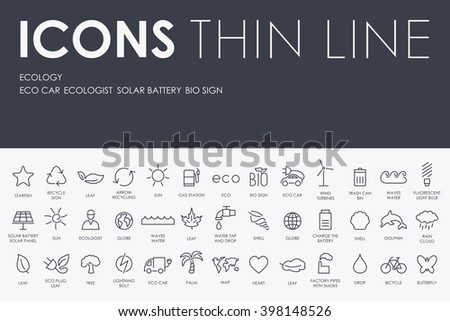 Thin Stroke Line Icons of ecology on White Background - stock vector