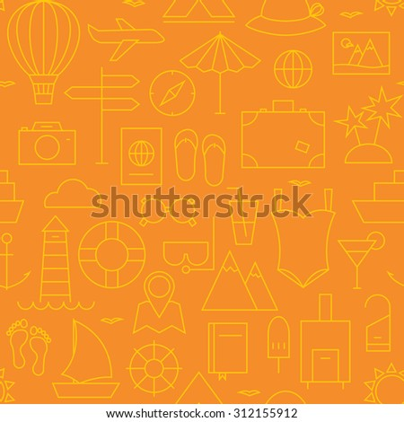 Thin Summer Holiday Line Vacation Resort Seamless Orange Pattern. Vector Travel Design and Seamless Background in Trendy Modern Line Style. Thin Outline Art - stock vector