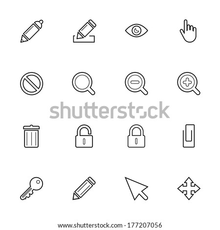 Thin Web Icon Set isolated on the white background for mobile and desktop applications