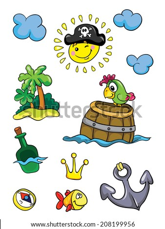things pirates, set, vector illustration on white background - stock vector