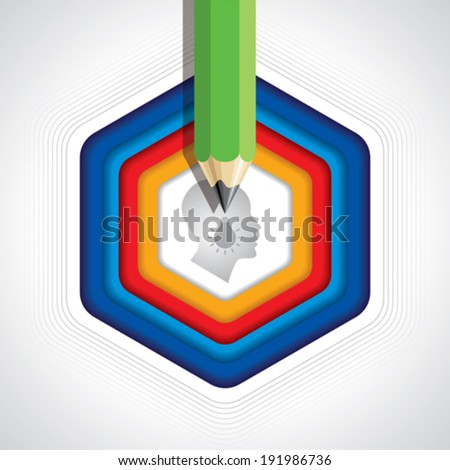 think and learn idea - stock vector