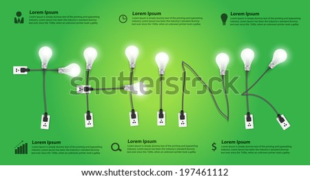 Think concept modern design template, Creative light bulb idea abstract infographic workflow layout, diagram, step up options, Vector illustration  - stock vector