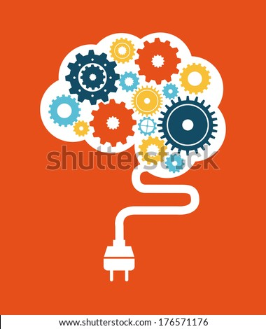 think design over orange background vector illustration - stock vector