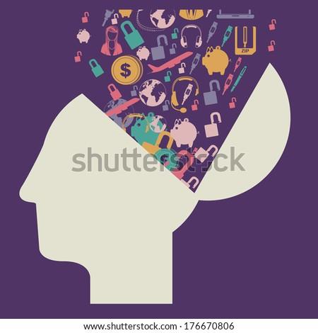 think design over purple background vector illustration - stock vector