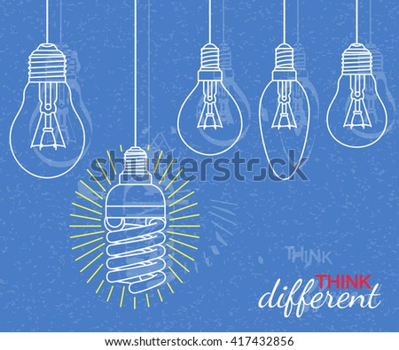 Think different concept. Background with bulbs and grunge texture. Vector illustration - stock vector