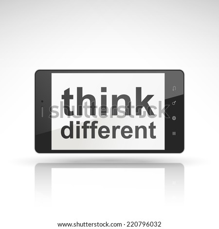 think different words on mobile phone isolated on white - stock vector