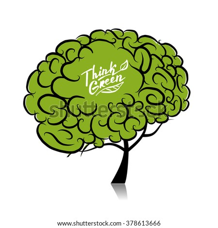 Think green. Brain tree concept for your design - stock vector