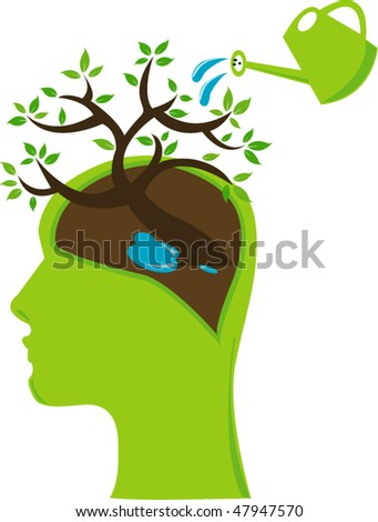 THink green concept - stock vector