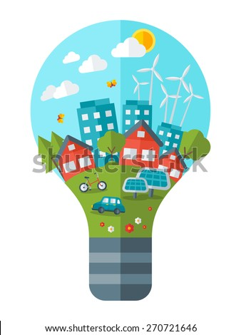 Think green concept vector illustration. Green city in light bulb.  Save world. Save the planet. Save the Earth. Creative concept of Eco Technology. - stock vector