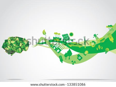 Think Green eco Brain - stock vector