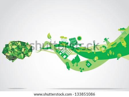 Think Green eco Brain - stock vector
