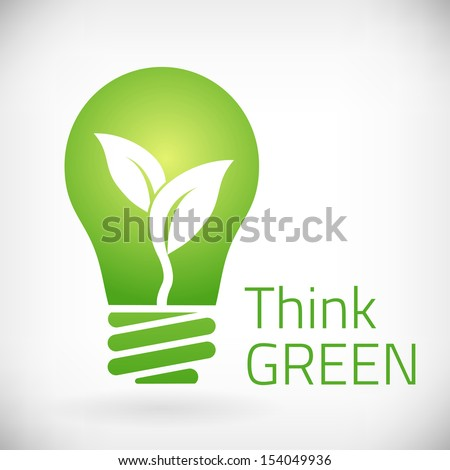 Think green eco bulb vector illustration. isolated from background. layered. - stock vector