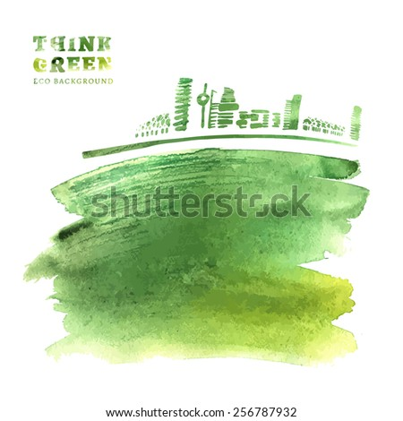 Think Green. Ecology Concept. The Illustration with environmentally friendly background. Hand drawn vector image. - stock vector