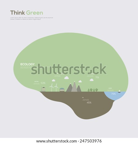 Think Green. Ecology Infographic Concept. Vector illustration - stock vector