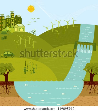 Think green, go green, sustainable environment - stock vector