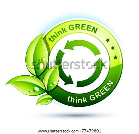 think green with recycling arrows - stock vector