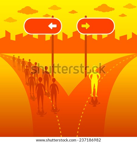 think out of the box or move in different direction concept vector - stock vector