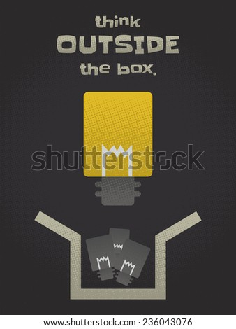 think outside the box - stock vector