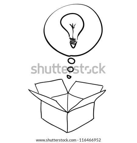 think outside the box sketch vector - stock vector