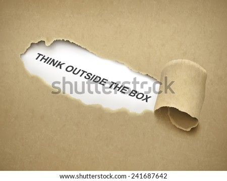 think outside the box words behind brown torn paper - stock vector
