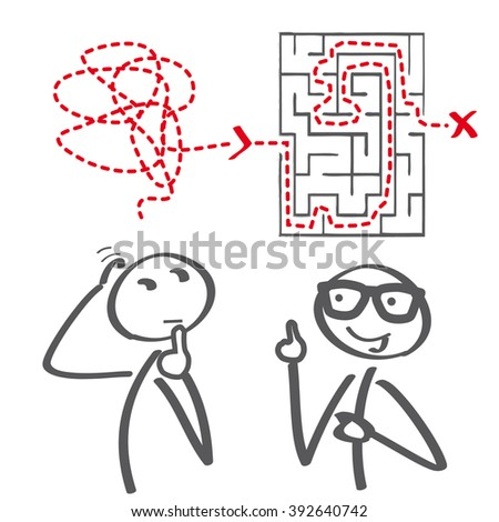 Thinking about solutions - vector illustration - stock vector