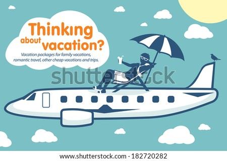 Thinking about vacation - stock vector