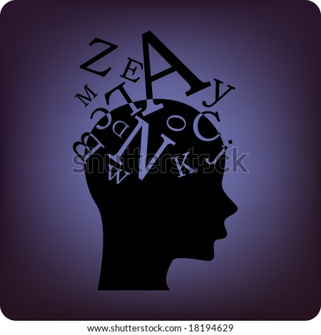 thinking alphabet - stock vector