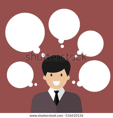 Thinking businessman with a lot of bubbles. Vector illustration