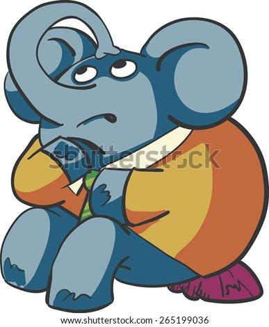 Thinking Elephant - stock vector